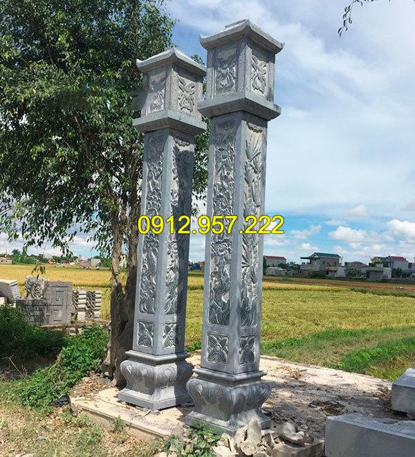 Mẫu cột vuông bằng đá xanh tự nhiên nguyên khối