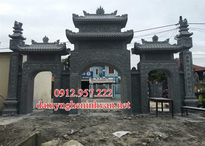 Mẫu cổng chùa đẹp bằng đá tại Thái Bình TB03, Cổng đá thái Bình, Cổng chùa bằng đá Thái Bình