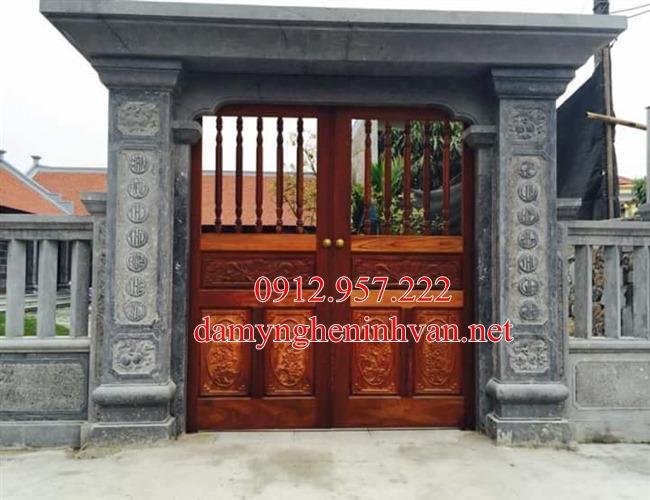 Mẫu cổng đá nhà riềng biệt thự bằng đá đẹp tại Bắc Ninh - BN02, Cổng đá Bắc Ninh