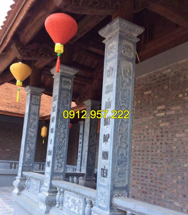 Mẫu cột đá nhà thờ họ đẹp do Đá mỹ nghệ Thái Vinh chế tác và lắp đặt
