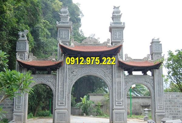 Mẫu cổng tam quan bằng đá tự nhiên nguyên khối đẹp nhất