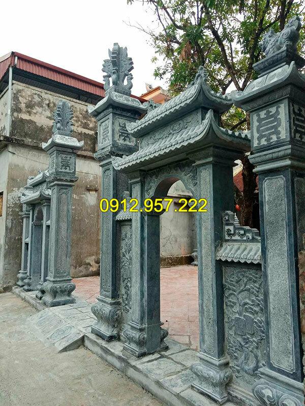 Thi công lắp đặt cổng nhà thờ họ bằng đá tại Yên Bái