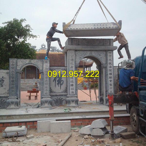 Thi công lắp đặt cổng chùa bằng đá tại Đắc Lắc, Tây Ninh,