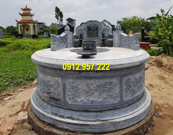 Mẫu mộ đá tròn chuẩn phong thuỷ