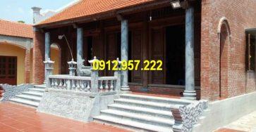 Nhà từ đường thờ tổ tiên sử dụng vật liệu đá và gỗ chất lượng cao