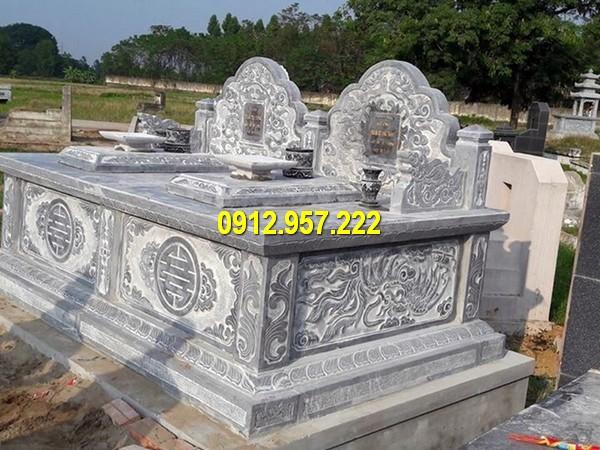 Mẫu mộ đá đôi phong thuỷ tại các khu lăng mộ dòng họ