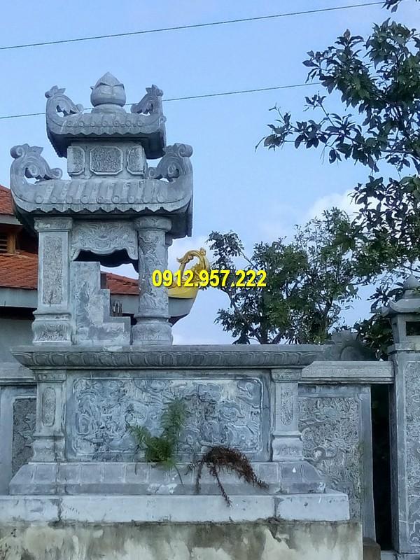 Hình ảnh mộ hai mái bằng đá thiết kế đẹp mắt, hoa văn tinh tế