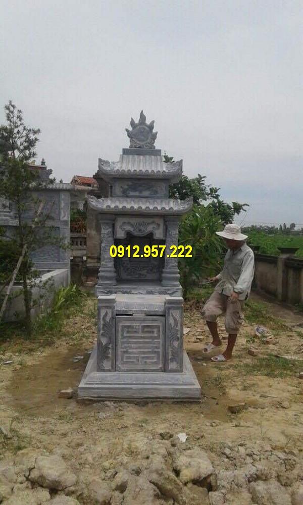 Thiết kế mộ hai đao bằng đá đẹp mắt, hoa văn tinh tế
