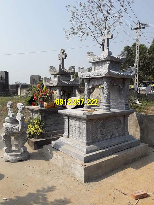 Mộ đá 2 đao, mộ hai đao đá xanh tự nhiên đẹp giá rẻ