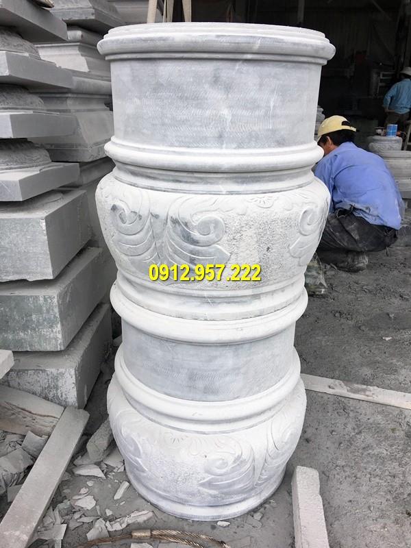 Thi công lắp đặt bán chân cột đá nhà thờ họ tại Quảng Trị