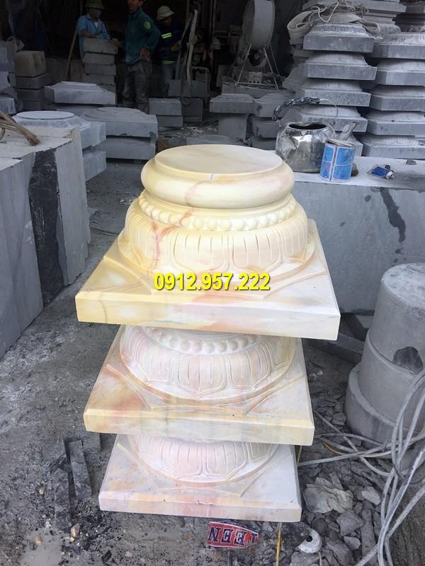 Thi công lắp đặt bán chân cột đá nhà thờ họ ở Nam Định