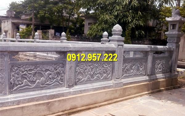Thi công, chế tác lan can đá đình chùa tại Thái Bình
