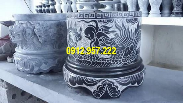 Các mẫu bát hương, lư hương bằng đá được thiết kế và chế tác thủ công