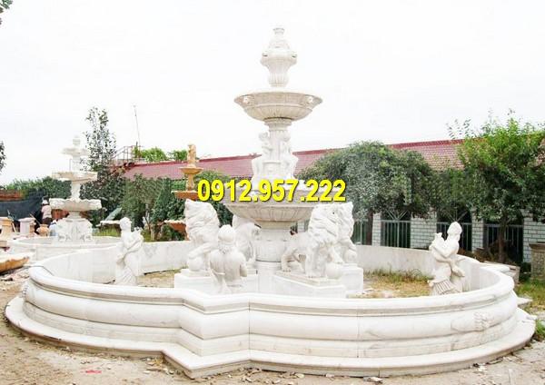 Đá mỹ nghệ Thái Vinh chế tác, bán đài phun nước đá trắng, đá xanh, vàng tự nhiên