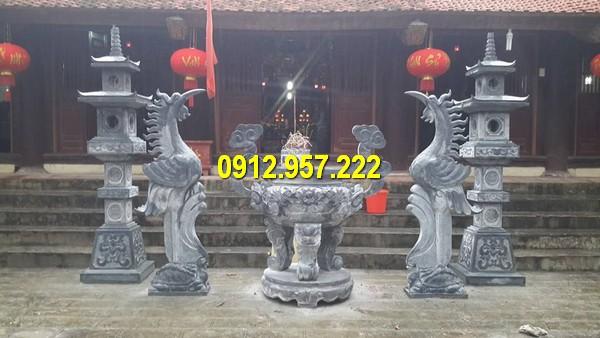Đá mỹ nghệ Thái Vinh thi công, lắp đặt cột đèn đá nhà thờ họ, sân vườn đẹp giá rẻ