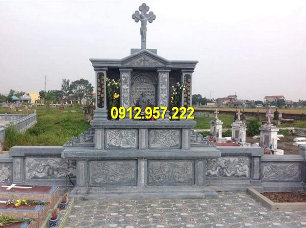 Mẫu lăng mộ đá đôi công giáo