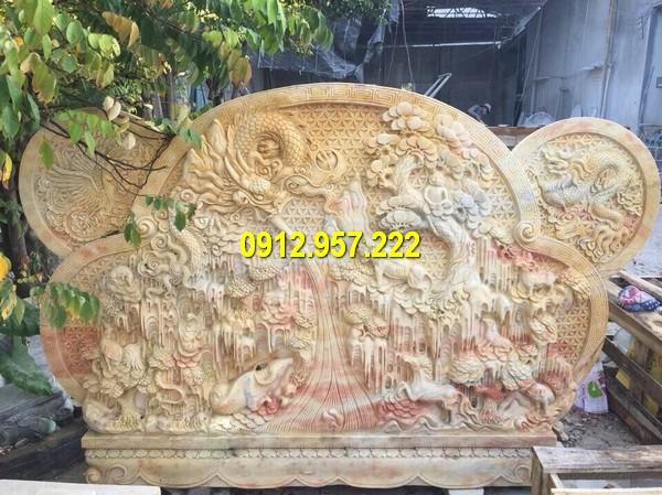 Cuốn thư đá vàng đẹp hoa tiết đẹp mắt, chạm khắc công phu