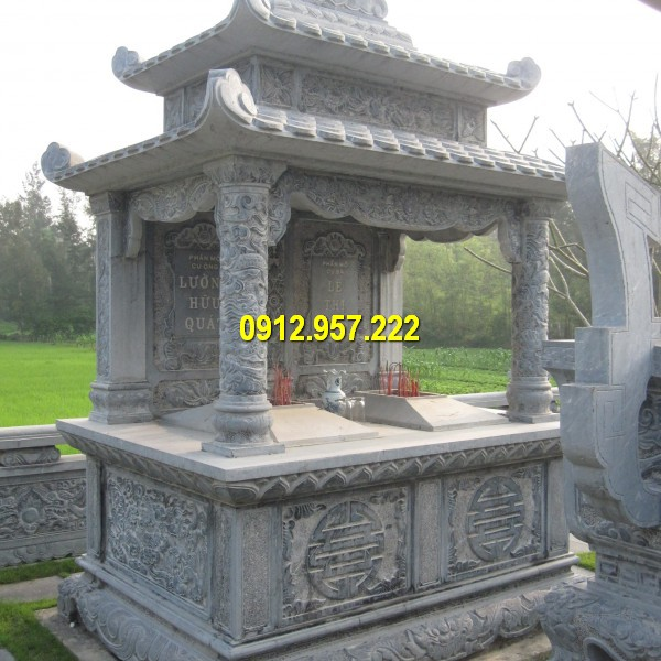Lăng mộ 2 đao chạm khắc hoa văn tinh tế