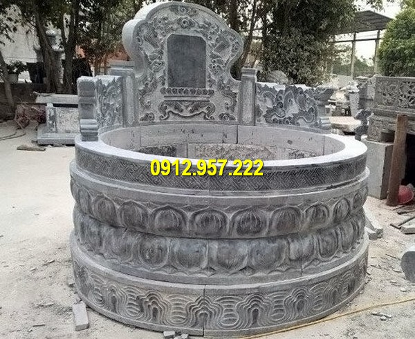 Mẫu mộ tròn chạm khắc tinh tế