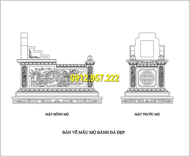 Bản vẽ thiết kế mộ bành đá đẹp