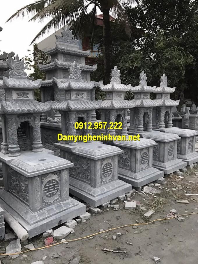 Thi công lắp đặt mộ đá hai mái