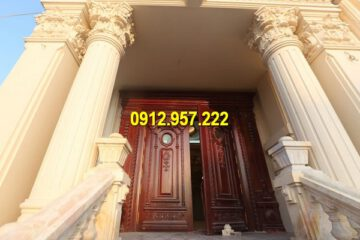 Cột hiên biệt thự nhà riêng bằng đá vàng, đá trắng, đá xanh