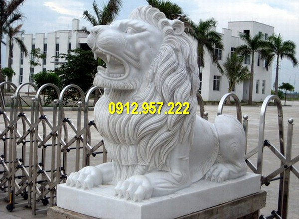 Sư tử đá trắng giá rẻ, kích thước chuẩn phong thuỷ