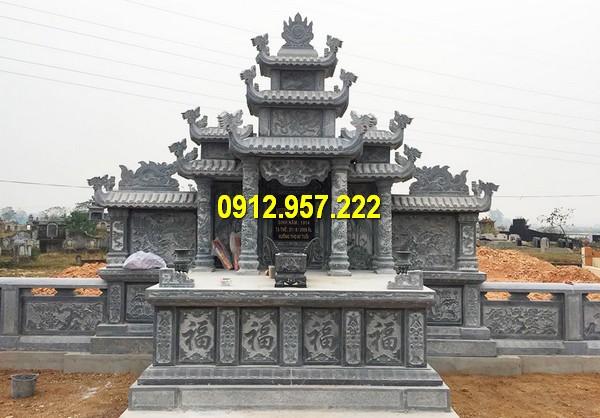 Mẫu lăng thờ chung bằng đá xanh đen