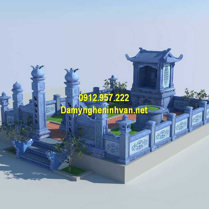 Thiết kế khu lăng mộ đá gia đình đẹp, chuẩn phong thuỷ