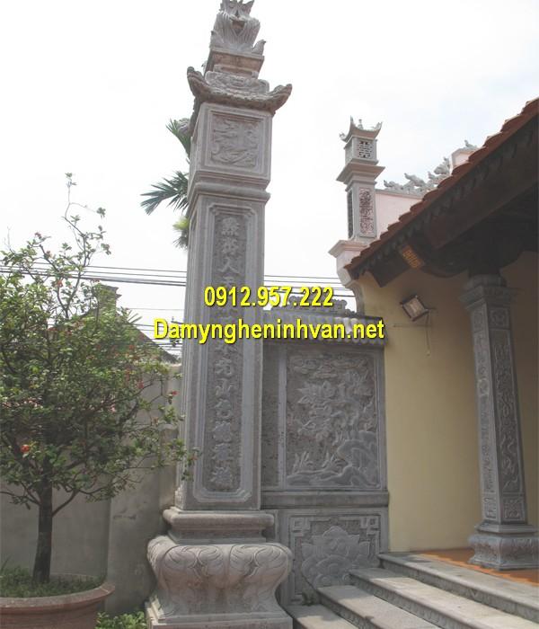 Câu đối chữ Hán khắc cột đồng trụ nhà thờ họ