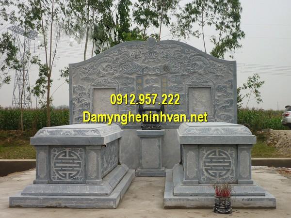 Mẫu mộ đôi đá khối đẹp
