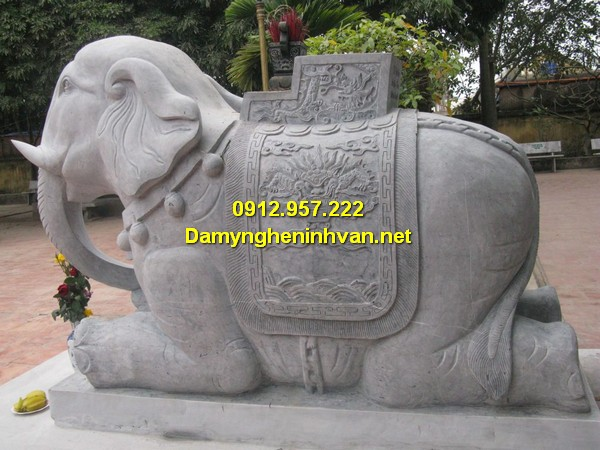 Voi đá đẹp - Tượng con voi đá phong thủy Ninh Bình đẹp nhất 2019