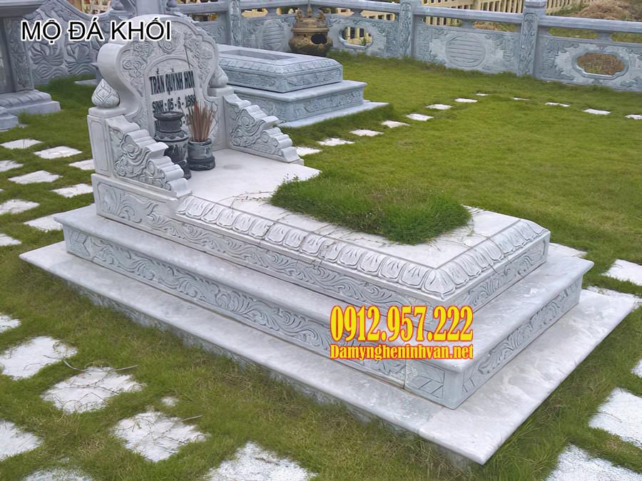 mộ đá khối, mộ đá khối đẹp, làm mộ đá khối
