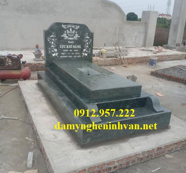 Mẫu mộ tam cấp bằng đá xanh đẹp