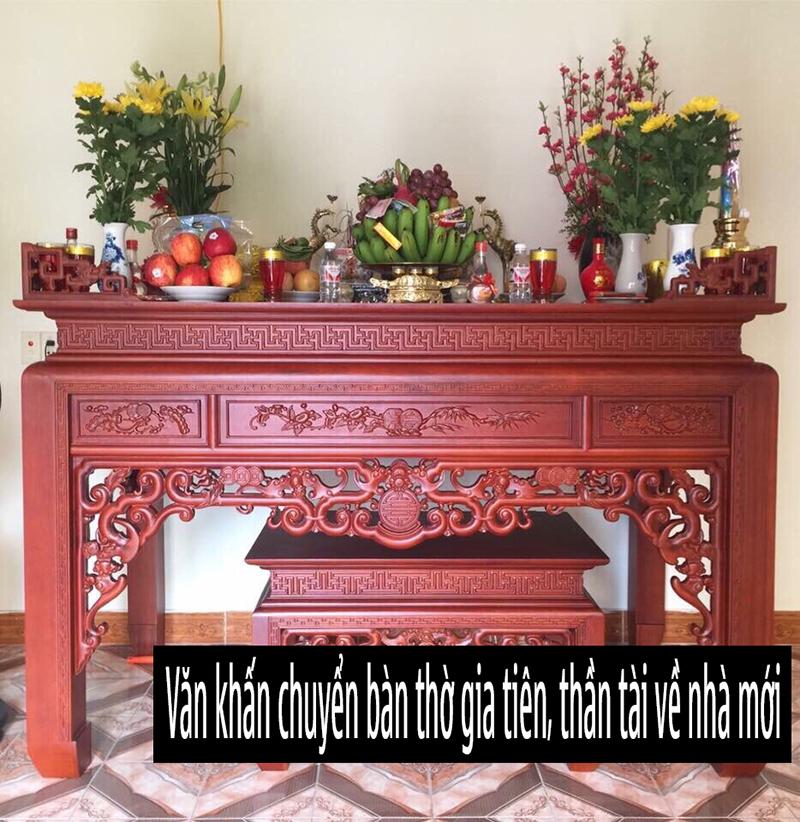 Thủ tục, bài văn khấn chuyển bàn thờ gia tiên, thổ công về nhà mới