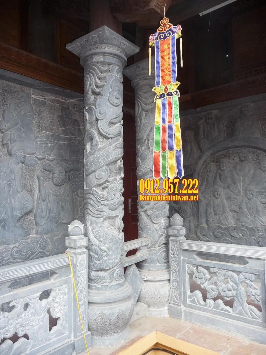 Cột đá hiên từ đường - Báo giá cột đá ngoài hiên từ đường, nhà thờ họ