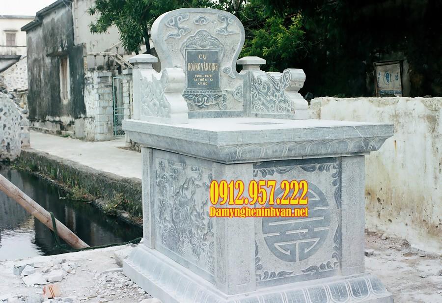 Mẫu mộ bành đá chạm khắc hoa văn đẹp mắt, kích thước chuẩn phong thuỷ