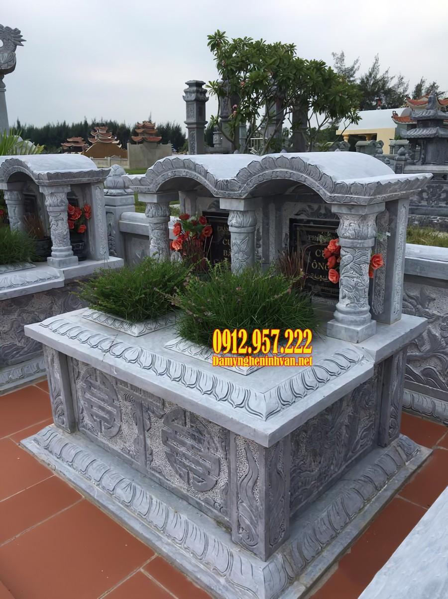 Mẫu mộ đá đôi 1 mái chạm khắc tinh xảo