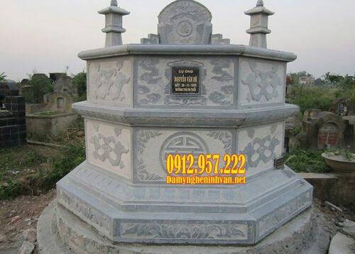 Mẫu mộ đá bát giác bằng đá xanh tự nhiên