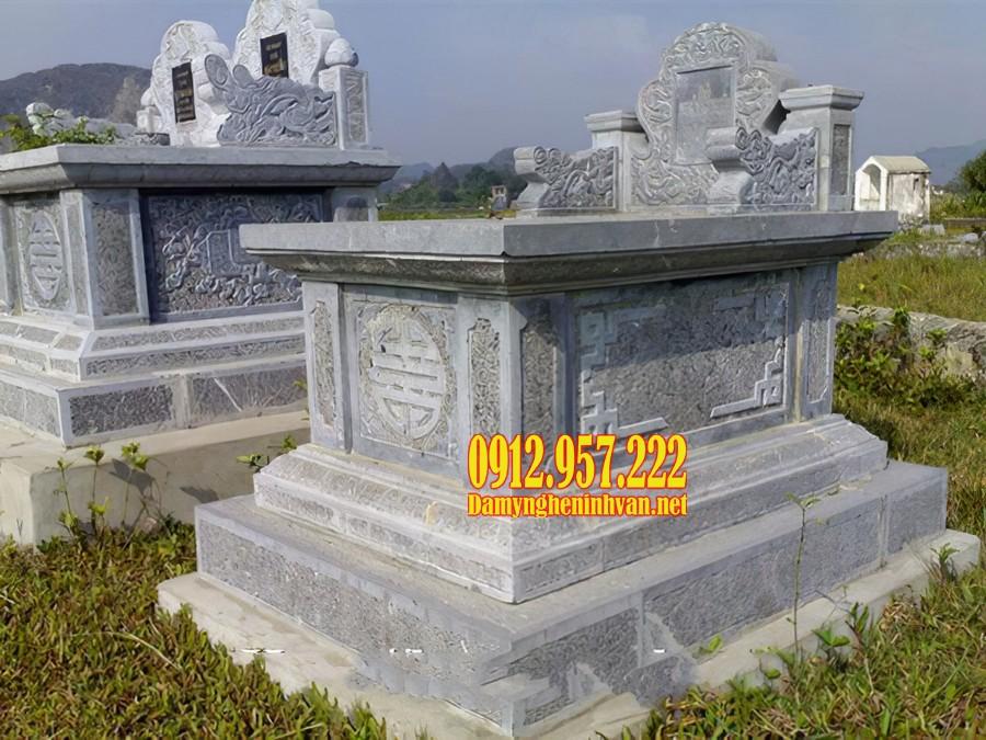 Mẫu mộ đá tam sơn được làm bằng đá xanh Ninh Bình
