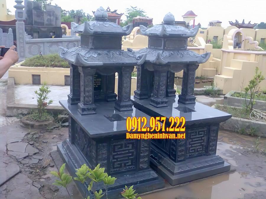 Mẫu mộ đá hai mái bằng đá xanh đen Thanh Hoá