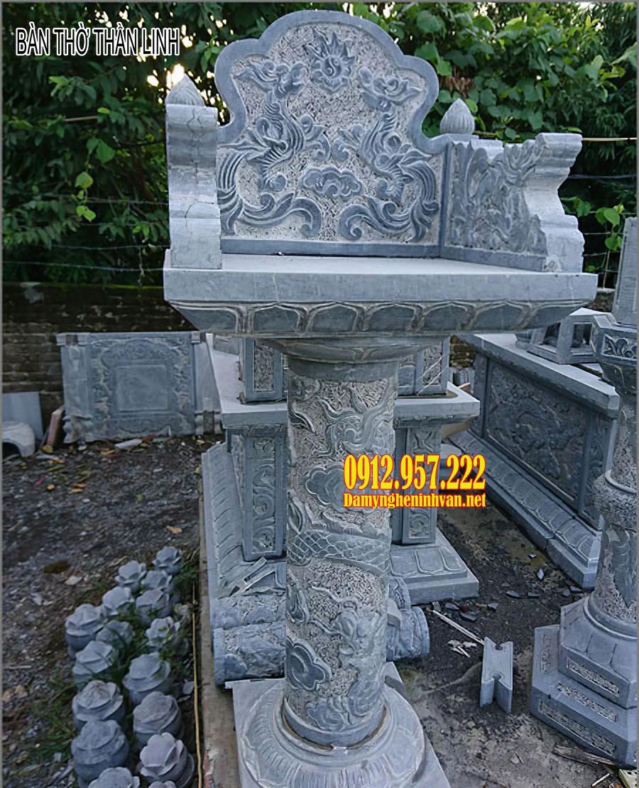 Bàn thờ thần linh bằng đá - Mẫu bàn thờ thần linh ngoài trời bằng đá đẹp