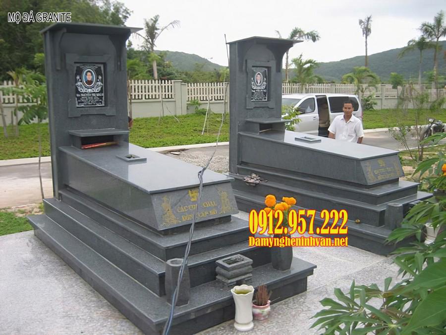 Mộ đá granite đẹp - Mẫu mộ ốp đá granite, mộ đá granite nguyên khối đẹp