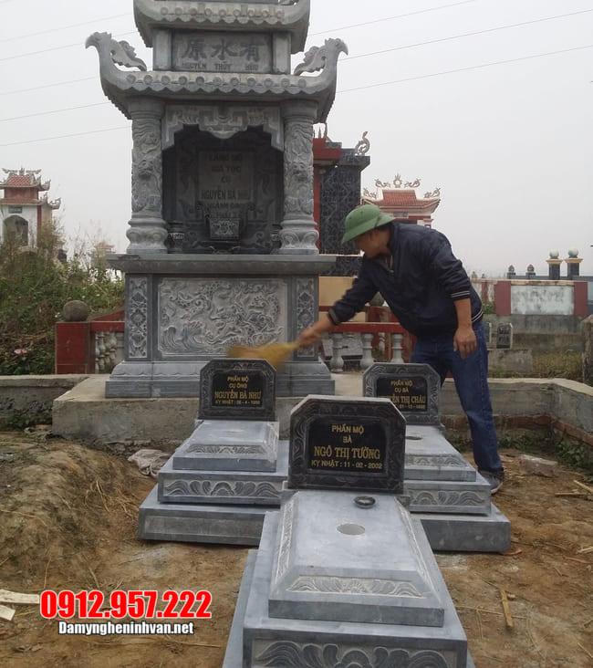 mộ tam cấp bằng đá xanh