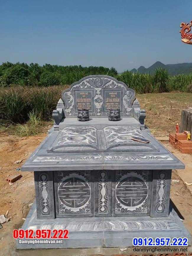 mộ đôi bằng đá xanh đẹp