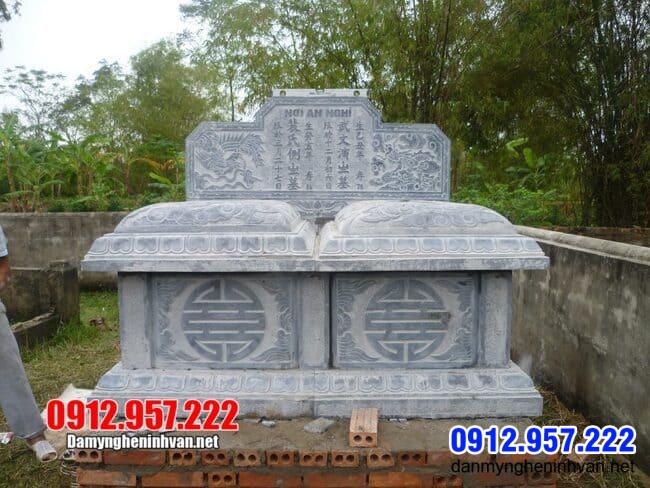 Mộ đôi bằng đá đẹp tại Hưng Yên - Địa chỉ làm mộ đôi đá tại Hưng Yên