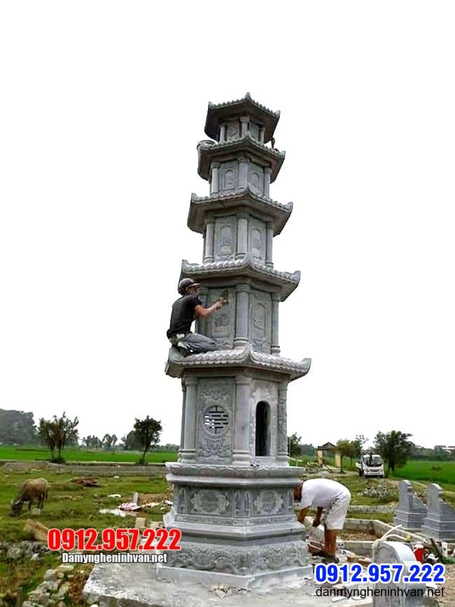 ẫu tháp mộ bằng đá để hũ tro cốt tại An Giang - Xây tháp mộ đá tại An Giang