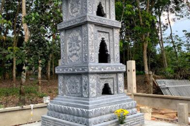 Mẫu tháp phật giáo bằng đá để tro cốt tại Bình Dương