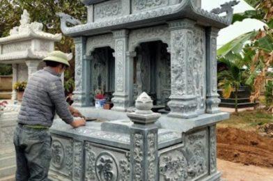 Hình ảnh mộ đôi bằng đá đẹp được ưa chuộng lắp đặt tại Cà Mau