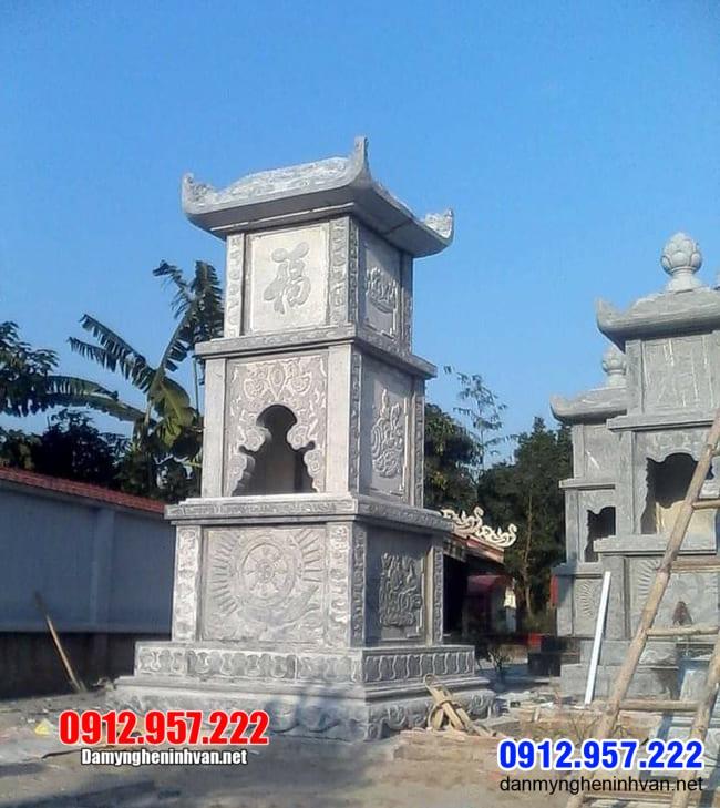 tháp mộ đá đẹp thờ hũ tro cốt tại Bến Tre
